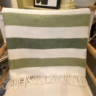 green throw blanket with fringe