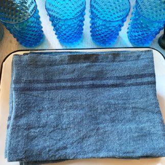 blue linen tea towel