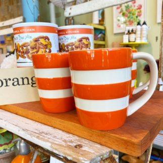 orange cornishware mug