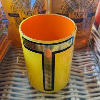 yellow t brush pot