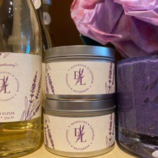 tin candle dandelion lavender