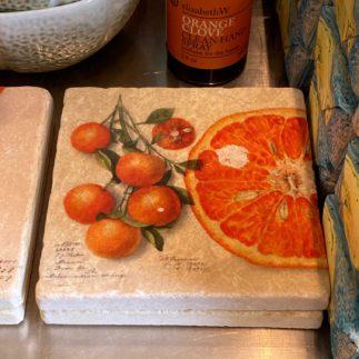 orange botanical coaster